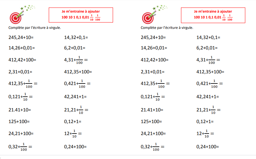 fraction et décimaux calcul CM1 CM2